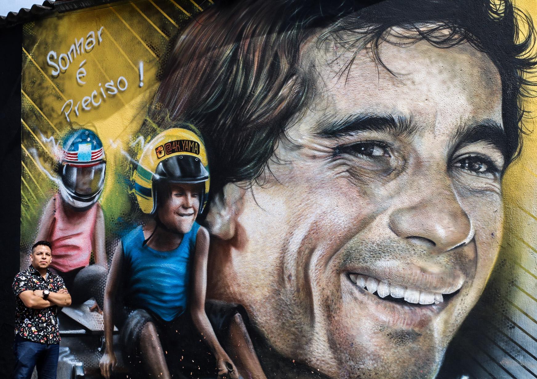 Foto de Conheça Cristian Yama, colombiano autor de graffiti de Ayrton Senna em frente ao Autódromo de Interlagos